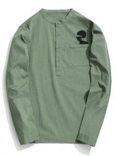 Camisa Media Del Botón De La Impresión Abstracta - Verde Claro 2xl