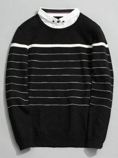 Overlay Striped Knitwear - Black 2xl