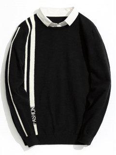 Double Layered Fashion Striped Knitwear - Black 2xl