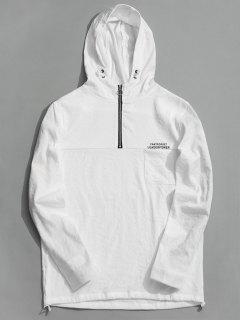 Tunic Half Zipper Hoodie - White 2xl