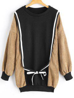 Cord Panel Drop Schulter Schleifedetail Sweatshirt - Khaki