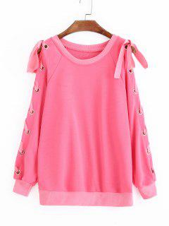 Sweat à Manches Raglan à Lacets - Rose PÂle