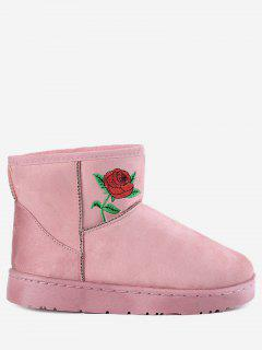 Floral Embroidery Snow Boots - Pink 37