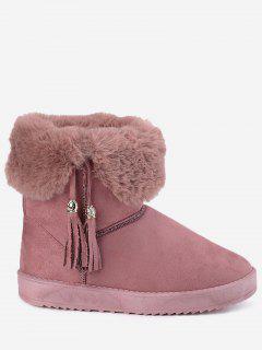 Low Heel Tassel Snow Boots - Pink 38