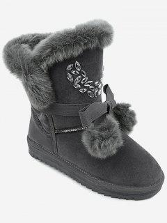 Pompom Bow Snow Boots - Gray 36