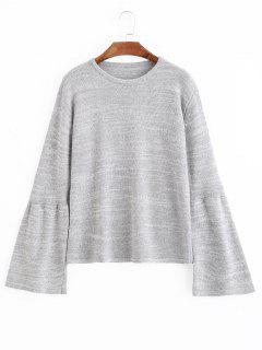 Suéter Con Cuello Redondo De Manga - Gris