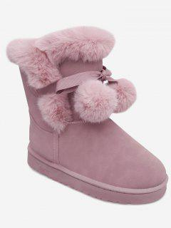 Pompom Bow Beading Snow Boots - Pink 36