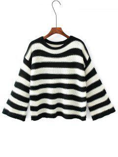 Kimono Ärmel Streifen Pullover Pullover - Streifen