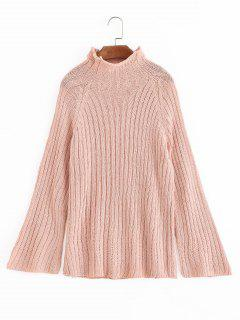 High Neck Plain Pullover Pullover - Pink