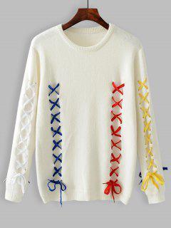 Kontrastierender Schnür-Pullover - Weiß