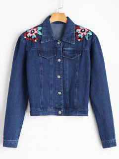 Flower Applique Denim Jacket - Denim Blue S