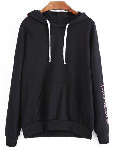 Letter Flower Patched Drawstring Hoodie - Black M