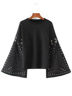 Flare Sleeve Metallic Rings Cutout Sweatshirt - Black M