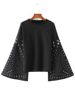 Flare Sleeve Metallic Rings Cutout Sweatshirt - Black S