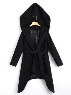 Belted Asymmetric Hooded Coat - Black S