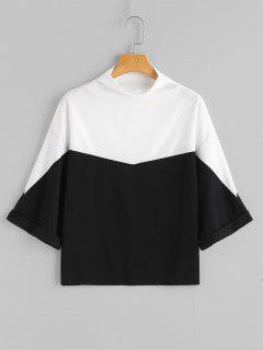 Slash Neck Side Slit Contrast Sweatshirt - Black