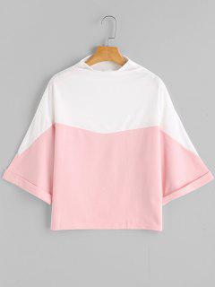 Sweat-shirt Contrastant à Col Bateau - Rose PÂle