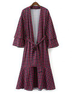 Belted Checked Flounces Duster Coat - Checked S