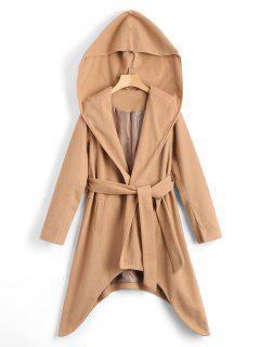 Belted Asymmetric Hooded Coat - Khaki S