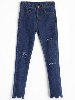 Frayed Hem Distressed Skinny Jeans - Denim Blue L
