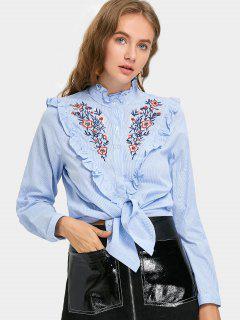 Chemise Brodée Avec Nœud Papillon à Rayures - Rayure S