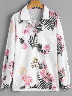 Leaf Pineapple Print Pocket Shirt - White
