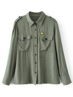 Button Down Star Patches Shirt - Army Green S