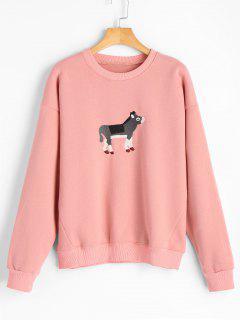 Cow Embroidered Fleece Crew Neck Sweatshirt - Pink
