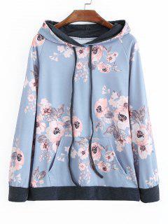 Raglan Sleeve Floral Print Drawstring Hoodie - Floral Xl
