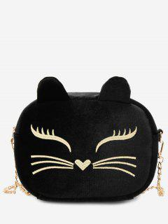 Chain Cartoon Kitty Pattern Crossbody Bag - Black