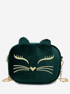 Chain Cartoon Kitty Pattern Crossbody Bag - Green
