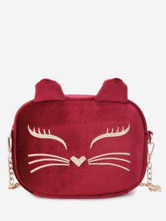 Chain Cartoon Kitty Pattern Crossbody Bag - Red
