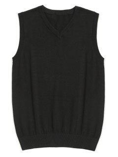 V Neck Sweater Vest - Black Xl