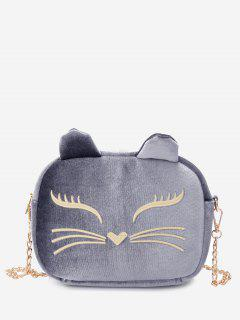 Chain Cartoon Kitty Pattern Crossbody Bag - Gray