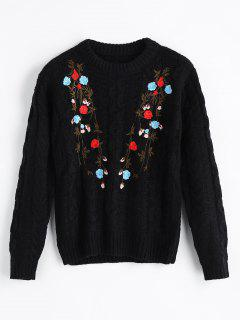 Cable Knit Floral Embroidered Sweater - Black