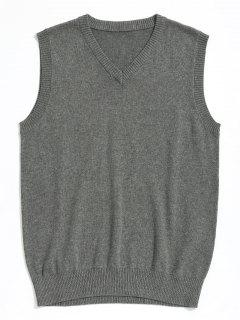 V Neck Sweater Vest - Gray Xl