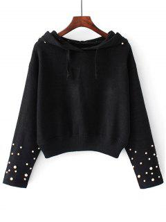 Hooded Faux Pearls Pullover Sweater - Black S