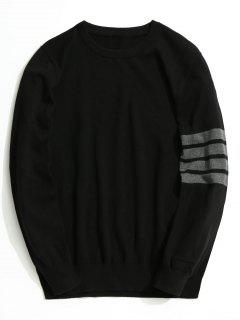 Crew Neck Striped Sleeve Knitwear - Black Xl