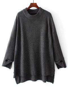Oversized High Low Pullover Sweater - Deep Gray S