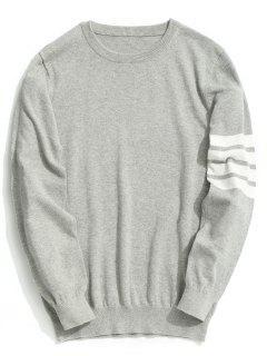 Crew Neck Striped Sleeve Knitwear - Gray 2xl