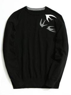 Swallow Jacquard Knitwear - Black 3xl