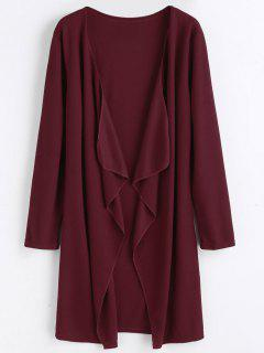 Plain Open Front Draped Cardigan - Deep Red S