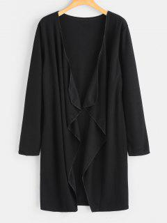 Plain Open Front Draped Cardigan - Black S