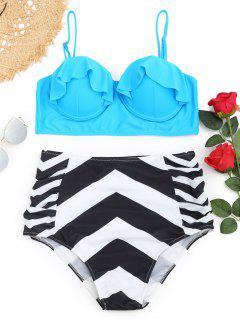 Rüschen-Zickzack Bügel Plus Size Bikini Set - Meeresblau Xl