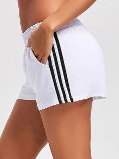 Striped Double Layered Sports Shorts - White M