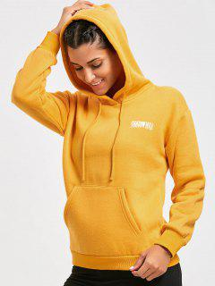 Casual Letter Fleeced Hoodie - Yellow S