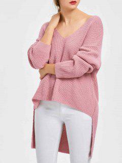 V-Ausschnitt Longline High Low Hem Sweater - Pink Xl