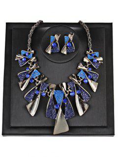 Faux Gem Boho Geometrical Statement Necklace Set - Blue