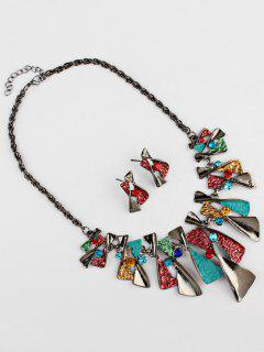 Faux Gem Boho Geometrical Statement Necklace Set