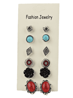 6 Pairs Of Boho Assorted Stud Earrings Set - Pattern A